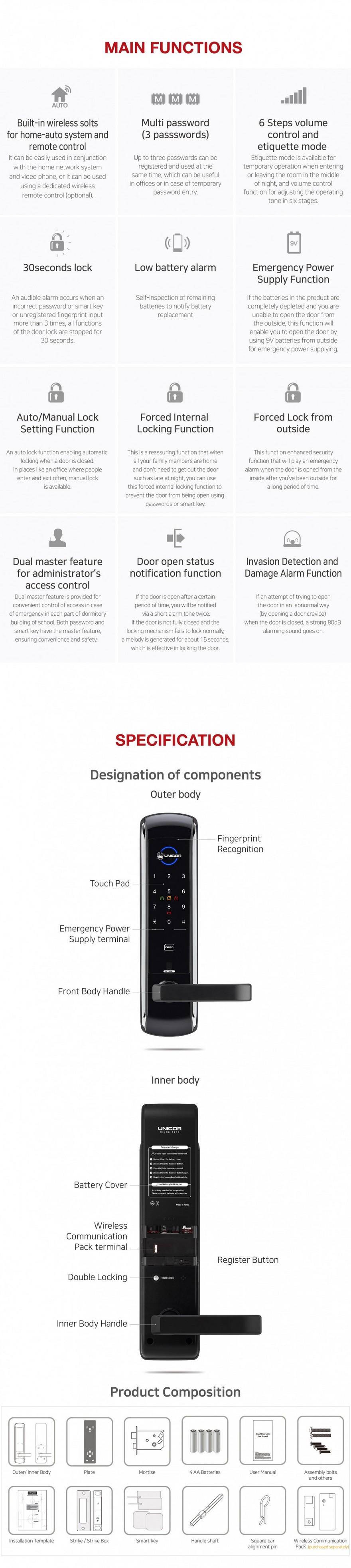 Khoa cua the tu Unicor UN-7200SK-mota
