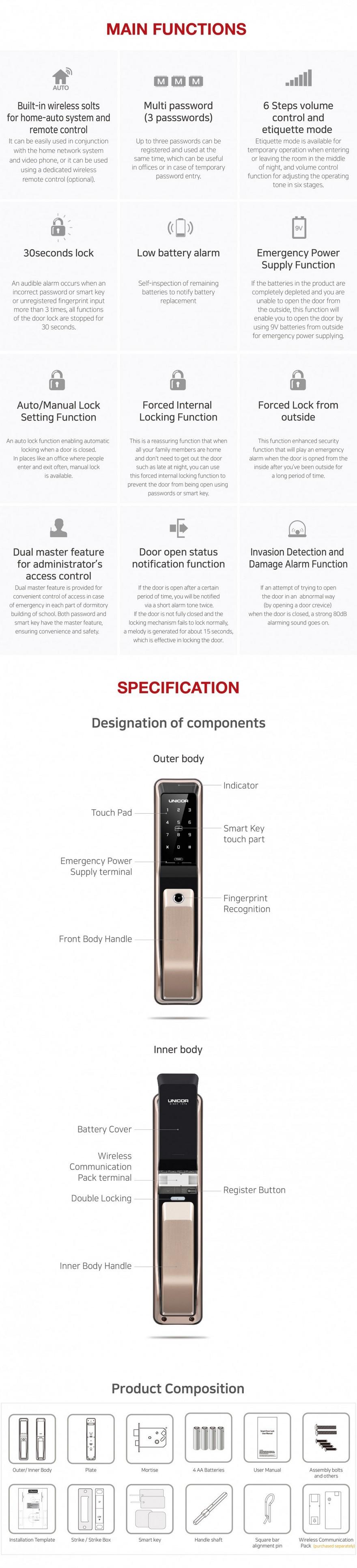 Khoa cua van tay Unicor PM8000BSK-mota1